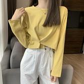 長袖T恤 設計感小眾簡約短款上衣秋天衣服秋季2021新款韓版洋氣長袖T恤女 霓裳細軟