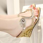 水鑽坡跟涼鞋 女鑲鑽高跟羅馬鞋【多多鞋包店】z2334