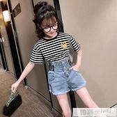 女童高腰花苞牛仔短褲夏季2021新款韓版中大童兒童條紋短袖兩件套 夏季新品