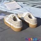 帆布鞋 日系千鳥格子帆布鞋女韓版原宿板鞋子2021新款春季百搭 618狂歡