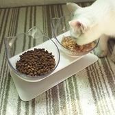 寵物碗 貓碗雙碗保護脊椎寵物狗盆狗碗貓盆貓食盆貓糧飯盆碗斜口碗貓碗架【星時代女王】