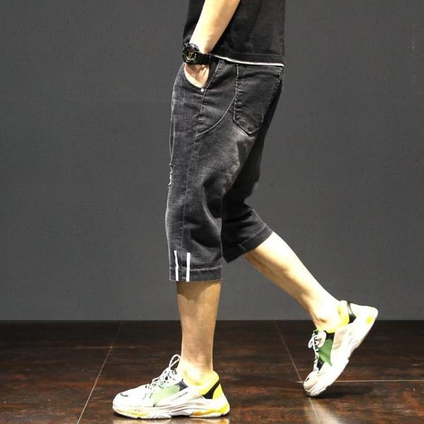 潮牌夏季薄款七分牛仔褲子男士哈倫寬鬆短褲韓版潮流新款休閒百搭 夢幻小鎮「快速出貨」