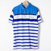 John Duke 經典條紋POLO衫-藍白