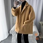 風衣男中長款氣質大衣百搭寬鬆休閒顯瘦外套【橘社小鎮】