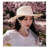 帽子女韓版時尚蕾絲綁帶草帽韓國網紅夏天遮陽百搭大檐系帶沙灘帽·Ifashion