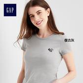 Gap女裝 柔軟舒適小蜜蜂印花短袖T恤 815842-復古灰