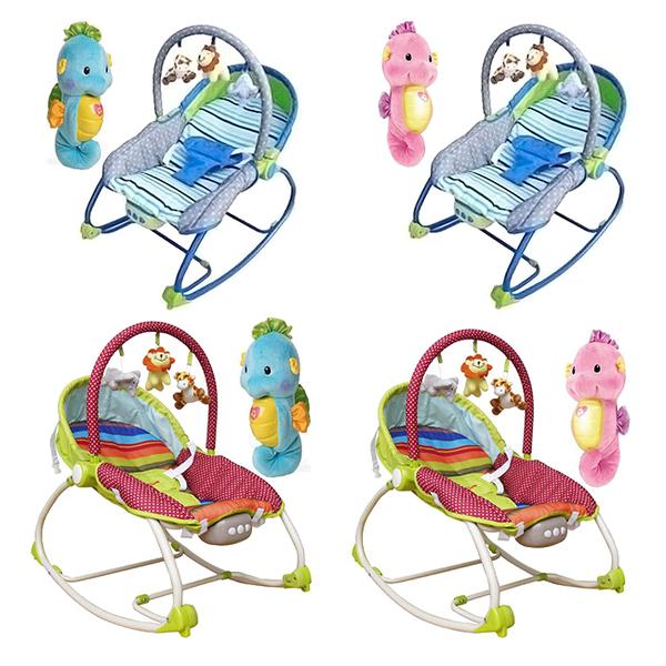 【奇買親子購物網】Mother''s Love 嬰兒震動搖椅藍/綠BR212+可愛費雪Fisher聲光安撫小海馬藍/粉