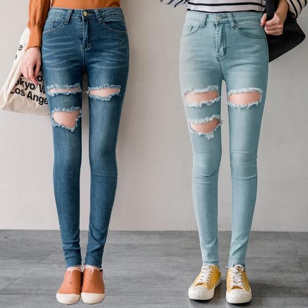 MIUSTAR 個性大破洞抽鬚褲管合身牛仔褲(共2色,S-L)【NJ1538EP】預購