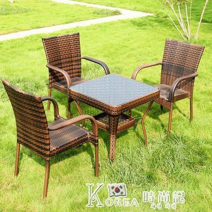 戶外桌椅陽台小茶幾藤椅三件套庭院簡約休閒組合露天鐵藝室外藤編 Korea時尚記