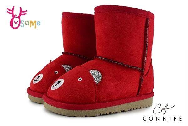 CONNIFE 雪靴 兒童靴 中小童 慵懶熊先生 日韓系 N8042#紅色◆OSOME奧森童鞋