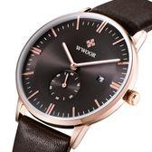 男手錶 手錶 男士手錶簡約真皮皮帶男錶日歷 手錶《印象精品》p125