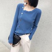 軟奶藍毛衣女秋冬新款外穿心機寬鬆顯瘦針織衫內搭超火打底衫上衣