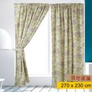 HOLA home 彩婕印花雙層遮光落地窗簾270x230cm 米