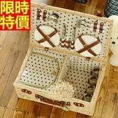 野餐籃 餐具組合-保溫保鮮戶外手提四人份郊遊用品68e25【時尚巴黎】