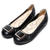 DIANA漫步雲端蝴蝶結款--奪目方形飾釦真皮平底鞋-黑★特價商品恕不能換貨★