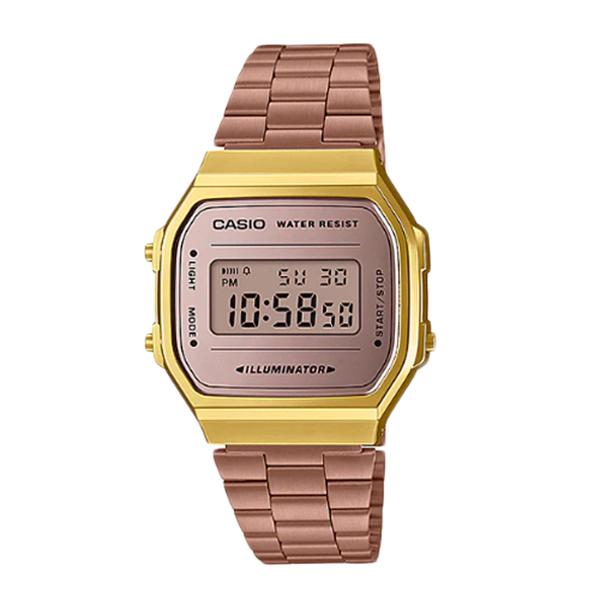 CASIO  卡西歐專賣店 A168WECM-5 時尚復古電子錶 粉紅金色離子鍍錶帶 開發票 A168WECM