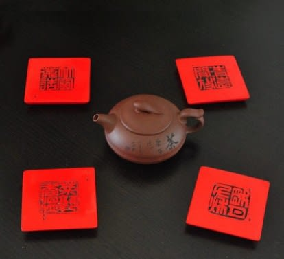 [協貿國際]中國印杯墊擺設單套價(4個1套)