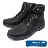 【PEGADA】巴西名品牛皮個性中筒靴 黑色(181051-BL)