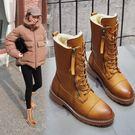 防水雪靴 馬丁靴女冬加絨保暖英倫粗跟學生真皮面雪靴女中筒