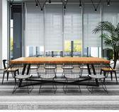 會議桌長桌辦公桌簡約現代辦公家具長條桌大桌子實木會議桌igo〖滿千折百〗