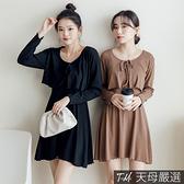 【天母嚴選】細肩帶彈力平口針織連身短洋裝(共四色)