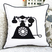 時尚複古電話 黑白印花沙發靠枕 抱枕 腰枕 靠背墊