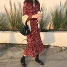 雪紡洋裝 紅色碎花裙女春裝韓版氣質V領長袖中長款連衣裙內搭雪紡荷葉邊裙