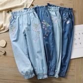 女童牛仔純棉防蚊褲寶寶春夏季薄款兒童裝大童女孩燈籠長褲子夏天 快速出貨