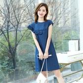 牛仔洋裝2020夏季新款韓版寬松大碼圓領短袖A字牛仔洋裝中裙XL3582【東京衣社】