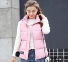 秋冬季新款韓版毛球修身羽絨棉馬甲女短款加厚立領棉背心外套 XL203【黑色妹妹】