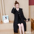 秋裝新款大碼女裝長袖外套復古長款胖妹妹黑色風衣外套200斤 EY9206【極致男人】