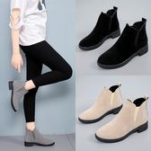 馬丁靴女磨砂粗跟平底切爾西單靴韓版女鞋-黑色地帶