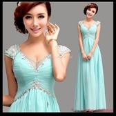(45 Design  )   7天到貨  藍色新娘結婚敬酒服長款婚紗晚禮服性感深v晚裝旗袍新娘裝