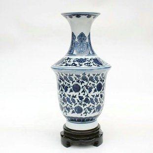 陶瓷 瓷器青花瓷手繪富貴連藤裙瓶 擺件 裝飾