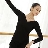 舞蹈服 舞蹈練功服 成人女V領長袖 舞蹈上衣修身形體服緊身 舞蹈服
