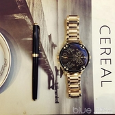 手錶男學生韓版簡約潮流ULZZANG金色鋼帶防水大錶盤歐美個性潮男S  深藏blue