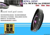 ROWA‧JAPAN 台製 超薄廣角鏡 0.7x 52mm / 55mm / 58mm 外口徑77mm 僅適用於 類單