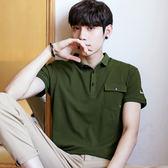 軍綠色/L碼 短袖t恤 韓版全棉翻領男裝 男POLO衫 短袖上衣