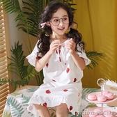 女童純棉睡裙兒童冬季睡衣五歲幼童萌短袖薄款綿綢中大童公主長款 美芭