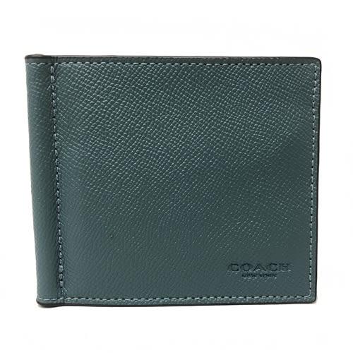 【COACH】經典壓印 LOGO 皮革8卡對折輕便鈔票夾短夾(藍綠)
