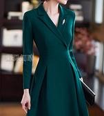 職業裙秋裝洋裝女新款西裝領設計感收腰顯瘦職業裝氣質女神范裙子春裝 快速出貨