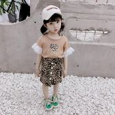 女童洋氣套裝裙夏裝韓國時髦兒童愛心T恤豹紋短裙兩件套【東京衣秀】