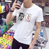 男T恤 男短t恤 韓版T恤 男士短袖t恤 個性時尚印花修身韓版男裝上衣服【非凡上品】q743