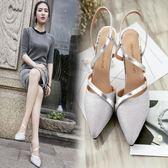 2018夏季新款高跟鞋細跟包頭時尚女鞋淺口銀色中跟單鞋一字扣涼鞋三角衣櫥