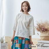 【Tiara Tiara】鏤空花網下擺寬袖純棉上衣(米/藍/灰) 新品穿搭