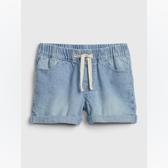 Gap女幼棉質舒適鬆緊腰牛仔短褲539046-淺水洗藍
