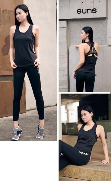 健身跑步瑜伽運動女生上衣 字母背心彈力速乾吸汗小罩衫顯瘦T恤~高品質~ 黑色 現貨