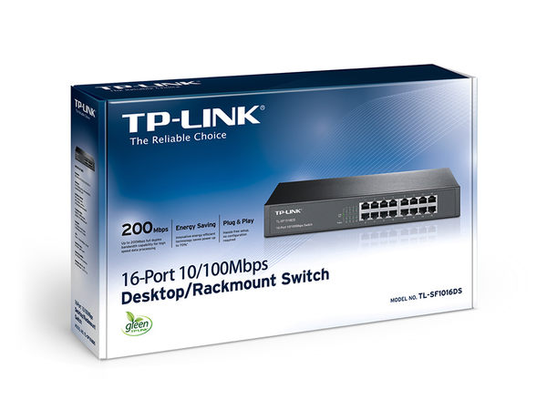 TP-LINK 10/100 Switch 16ports 13吋 鐵殼 ( TL-SF1016DS )