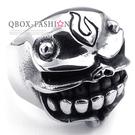 《 QBOX 》FASHION 飾品【R10023331】精緻龐克風骷髏頭鑄造鈦鋼戒指/戒環