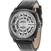 【台南 時代鐘錶 POLICE】義式潮流 幾何迷宮獨特閱讀概念時尚腕錶 15239JSB-01 皮帶 銀/黑 50mm